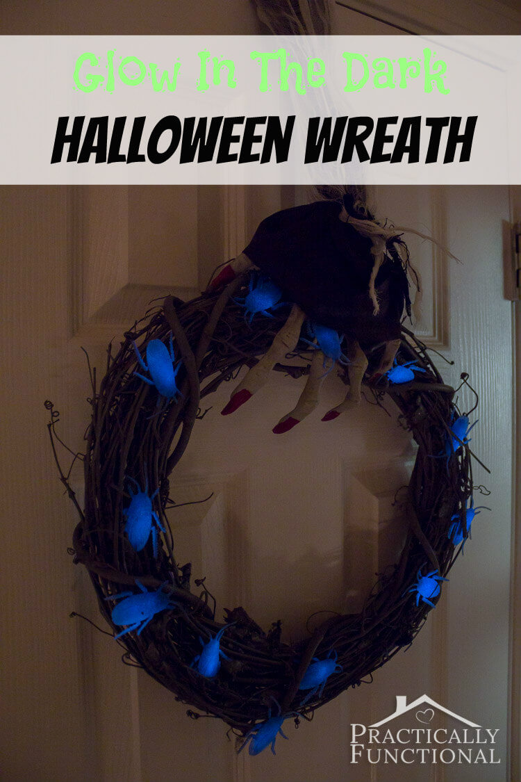 DIY Glow in the Dark Halloween Wreath from Practically Functional