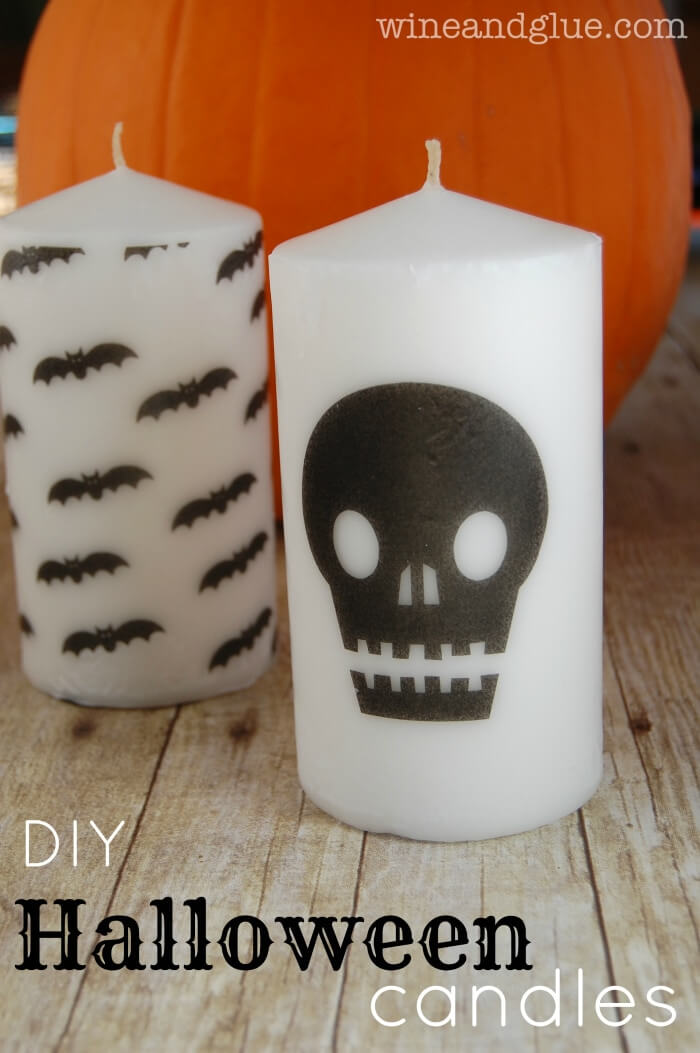 DIY Halloween Candles from Wine and Glue