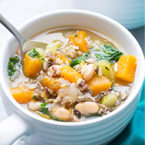 Slow Cooker Wild Rice Vegetable Soup from Kristine's Kitchen Blog
