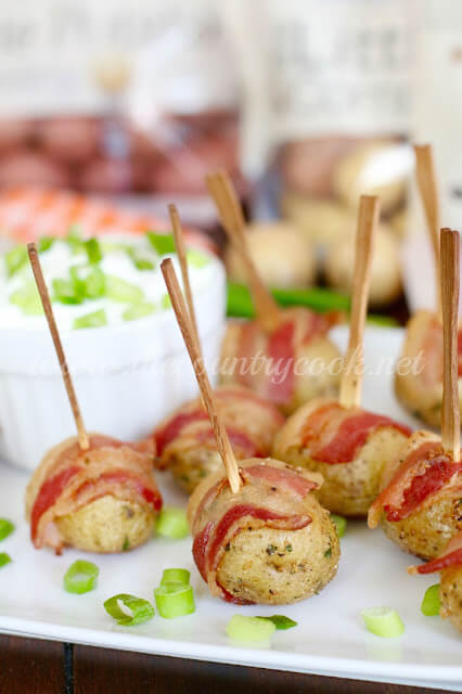 Bacon Wrapped Potatoes with Sour Cream & Onion Dip from The Country Cook