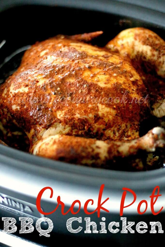 Crock Pot Whole BBQ Chicken from The Country Cook