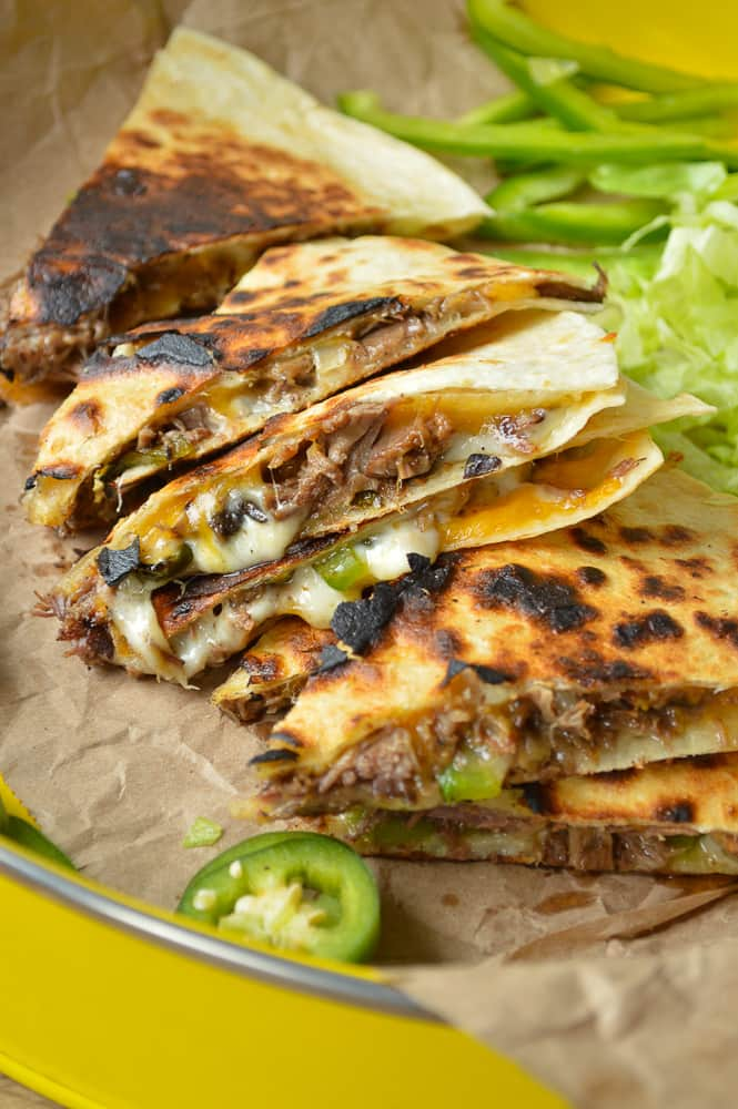 Crock Pot Philly Cheesesteak Quesadillas from Sugar Dish Me