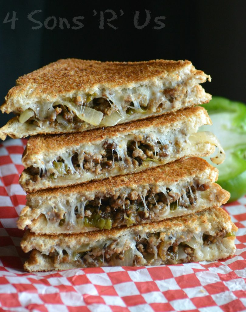 Ground Beef Philly Cheesesteak Grilled Cheese from 4 Sons 'R' Us