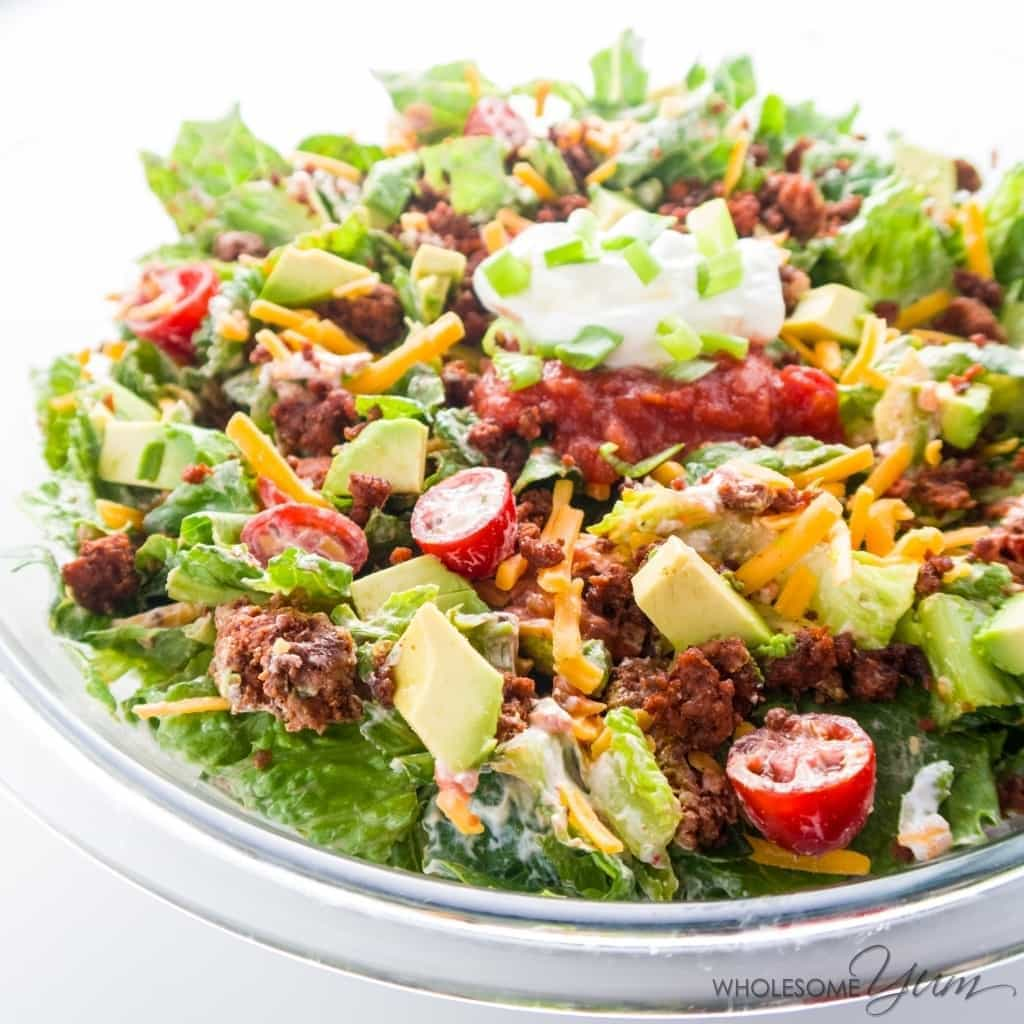 Easy Healthy Taco Salad Recipe with Ground Beef from Wholesome Yum