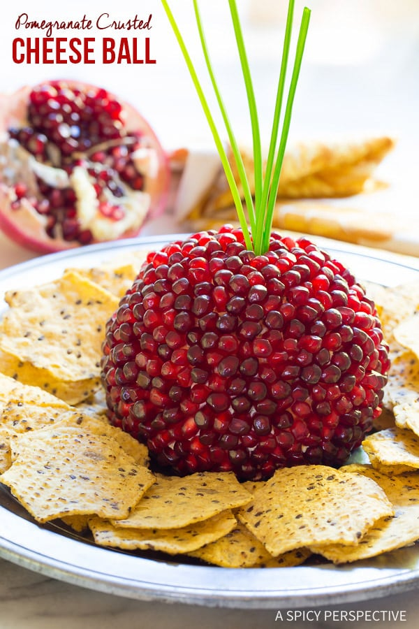 Pomegranate Crusted Cheese Ball Recipe from A Spicy Perspective