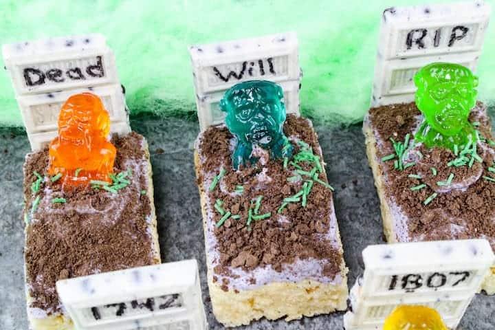 Halloween Rice Krispie Treats - Zombie Graveyard from Princess Pinky Girl
