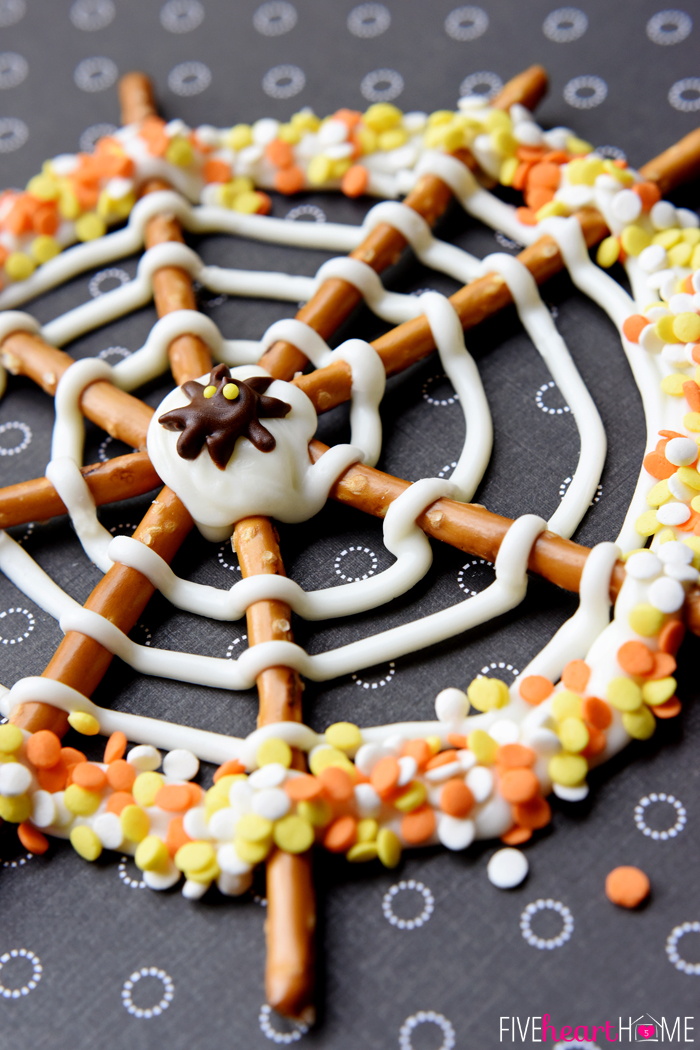 Pretzel Candy Spiderwebs for Halloween from Five Heart Home