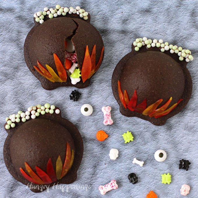 Candy Filled Cauldron Cookies from Hungry Happenings
