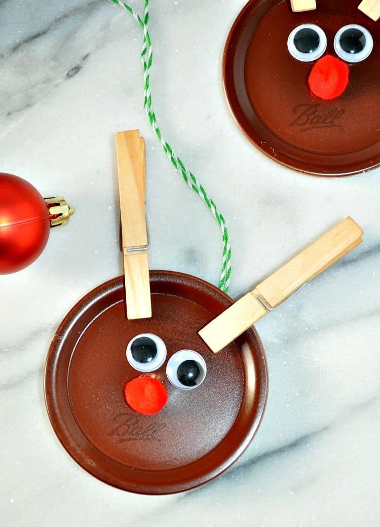 Mason Jar Lid Reindeer Ornaments from The Seasoned Mom