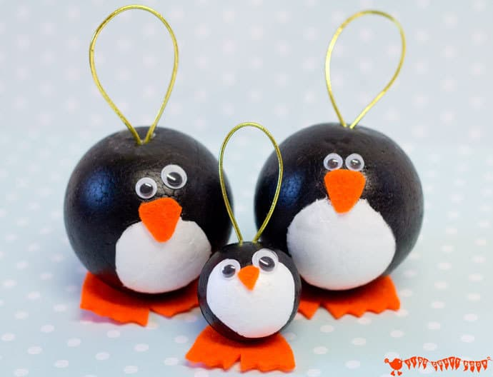 Penguin Ornaments from Kids Craft Room
