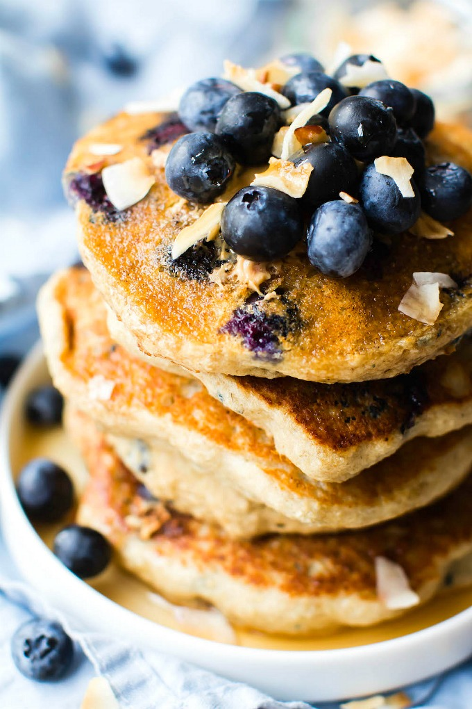 Fluffy Low Carb Keto Blueberry Pancakes from The Big Man's World