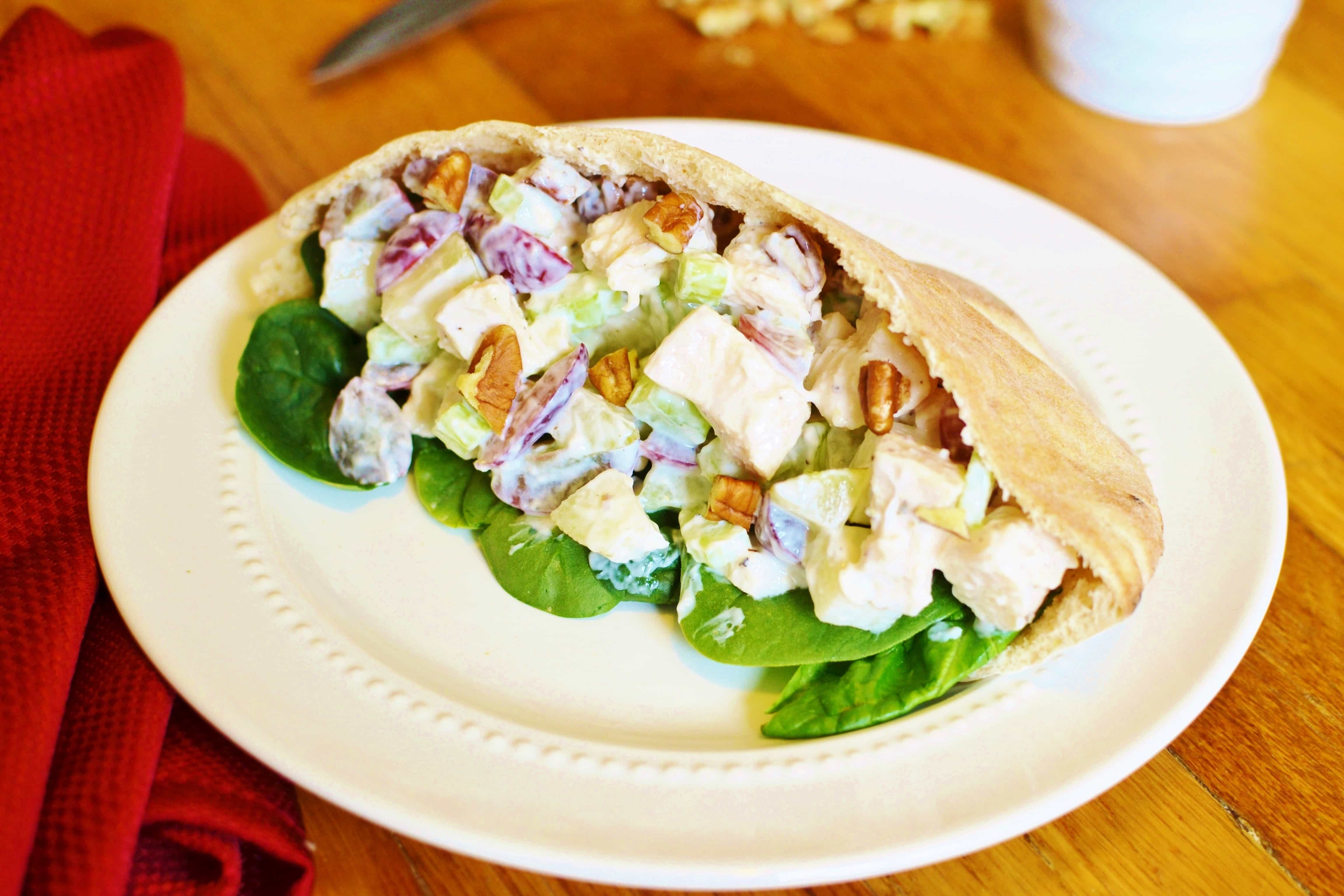 Waldorf Chicken Salad Pita from The Foodie and the Fix
