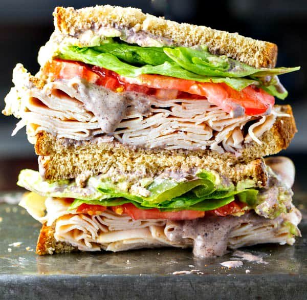 Healthy Turkey Sandwich Recipe with Black Bean Spread from The Wicked Noodle