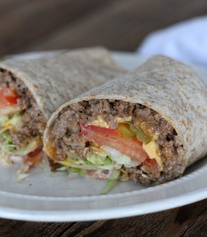 Healthy Grilled Cheeseburger Wrap from Organize Yourself Skinny