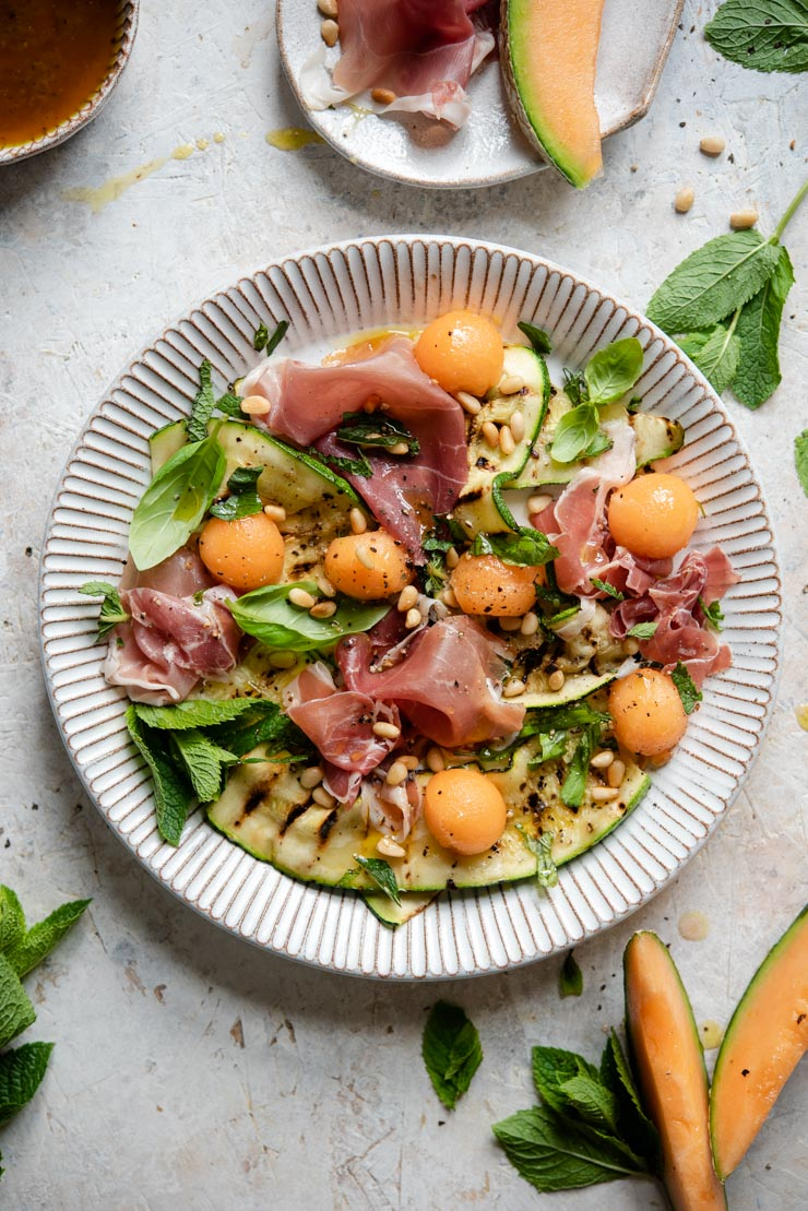 Grilled Zucchini Salad with Melon & Prosciutto from In the Rustic Kitchen