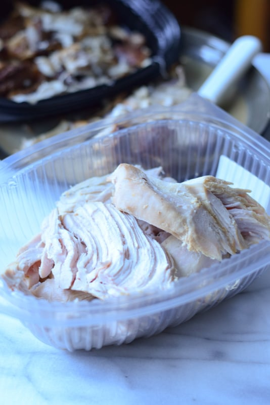 Turkey breast taken off the bone and in a plastic container