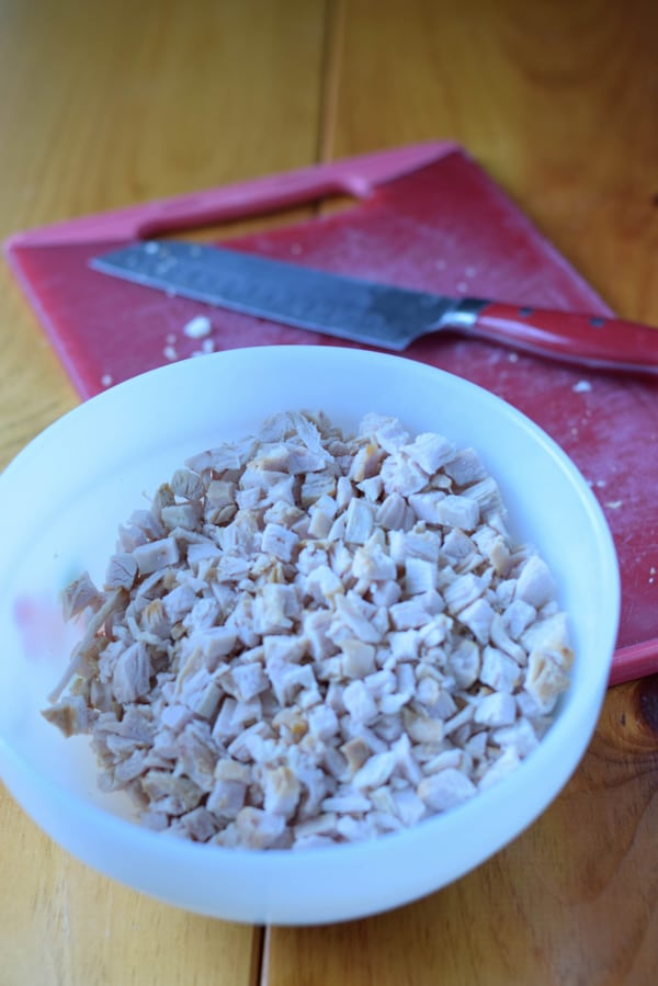A bowl with chopped turkey in it
