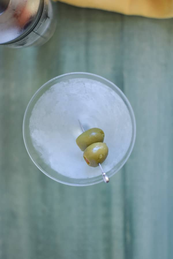 overhead view of a frosty glass filled with the martini