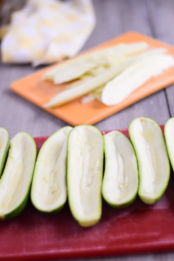 Hollowed out zucchini for the Gouda Stuffed Zucchini Boats