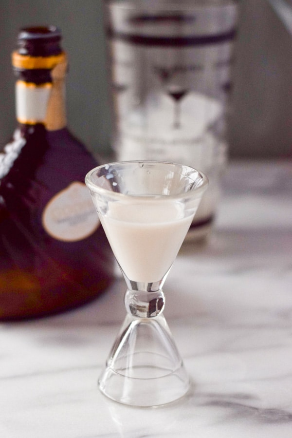 White chocolate godiva liqueur in the muddy chocolate martini