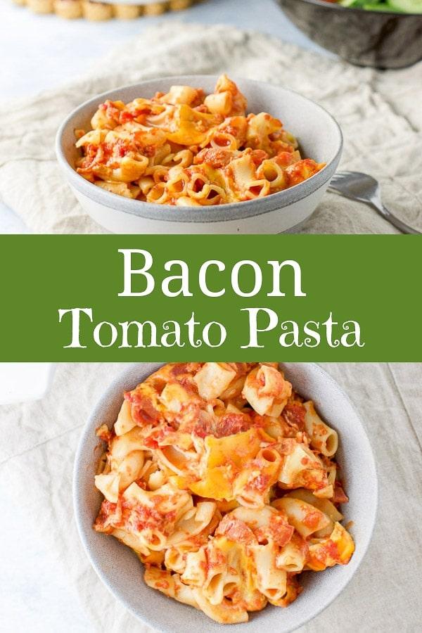 Bacon Tomato Pasta for Pinterest