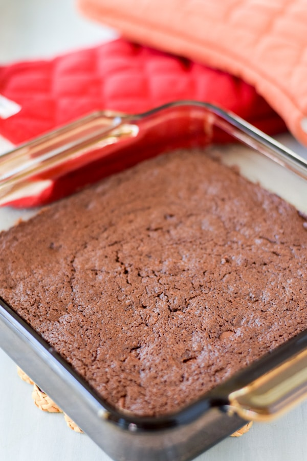Brownies baked in a glass square pan