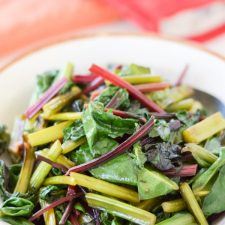 Delicious Easy Sauteed Beet Greens ready to be served