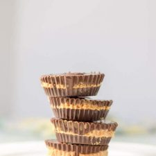 Stack of perfect dark chocolate peanut butter cups ready to be chowed down