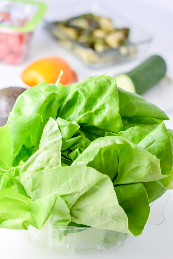 Boston lettuce and all the ingredients for the salad