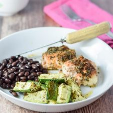 Plated easy peasy herb roasted zucchini