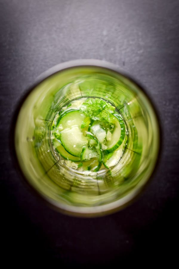 Muddled the cucumber and mint in a cocktail shaker