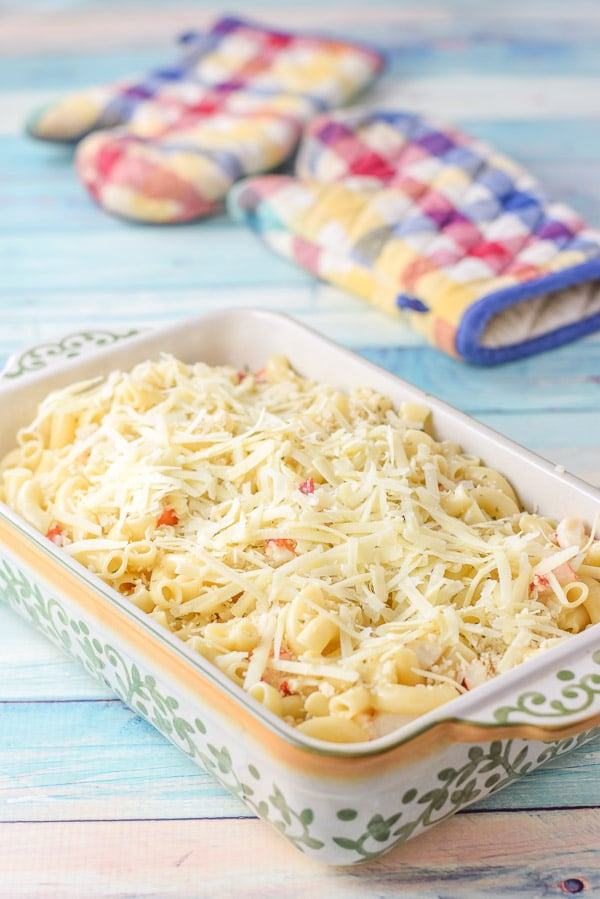 Gruyere cheese on top of the pasta casserole