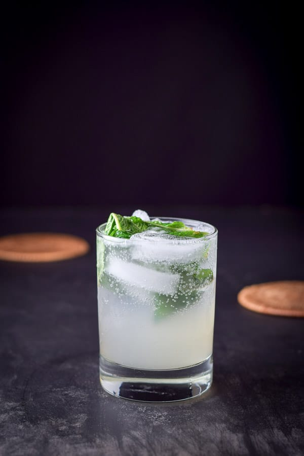 near vertical view of the mojito look refreshing with mint leaves on top