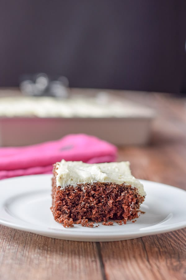 A close up of the cake in a vertical view. It is on a plate and the pan is in the background