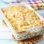 A baking dish with the lobster pasta straight out of the oven - square
