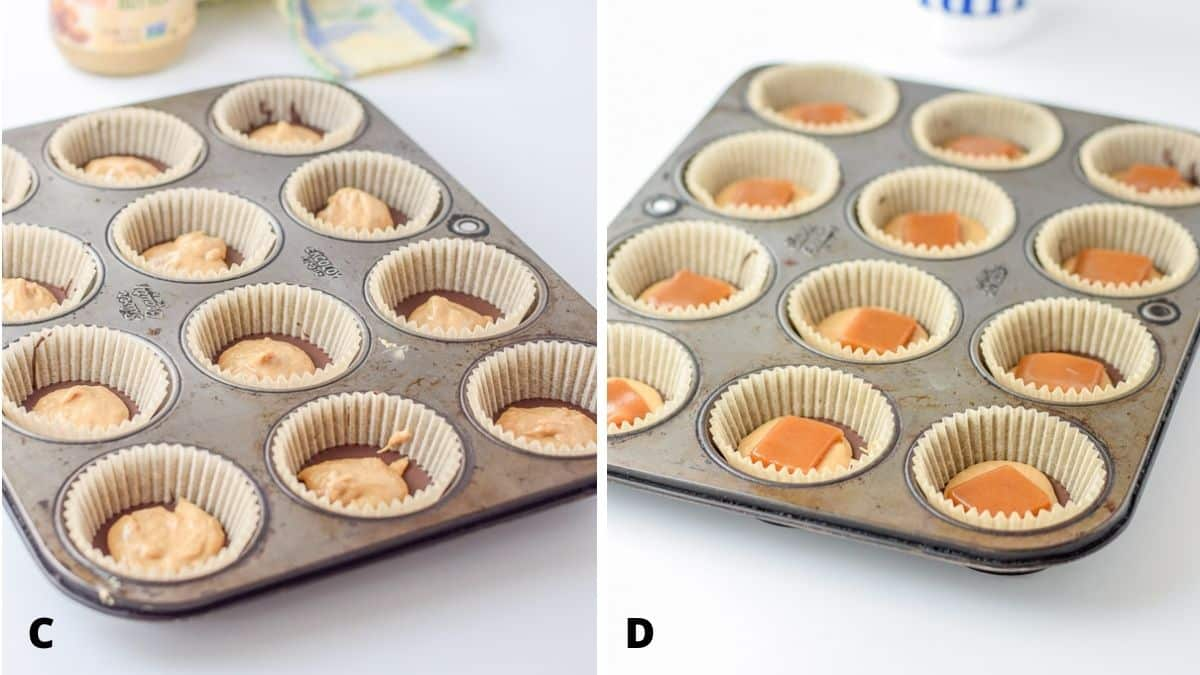 A muffin tin with nut butter on the chocolate and then caramel added on top of that