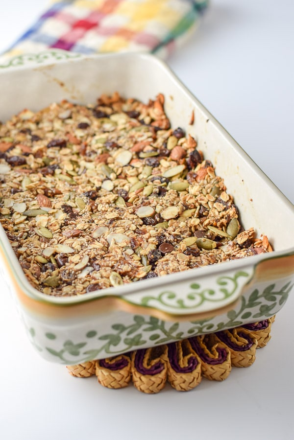 Baking dish fresh out of the oven with the granola bars in it