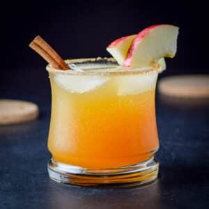 A rocks glass filled with the spritzer with apple slices and a cinnamon stick - square