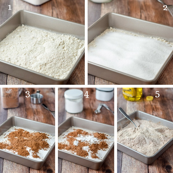 A square pan with flour, sugar, cocoa, baking soda, salt and then mixed together
