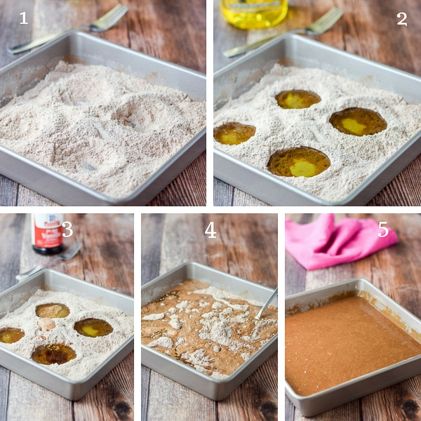 Four holes in the flour mixture, oil poured in them along with vanilla, water and then mixed together with a fork