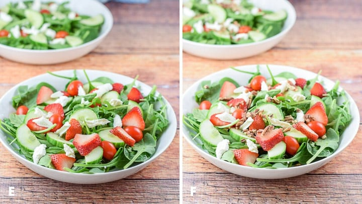 Strawberries, cheese and pecans added to the salad bowls