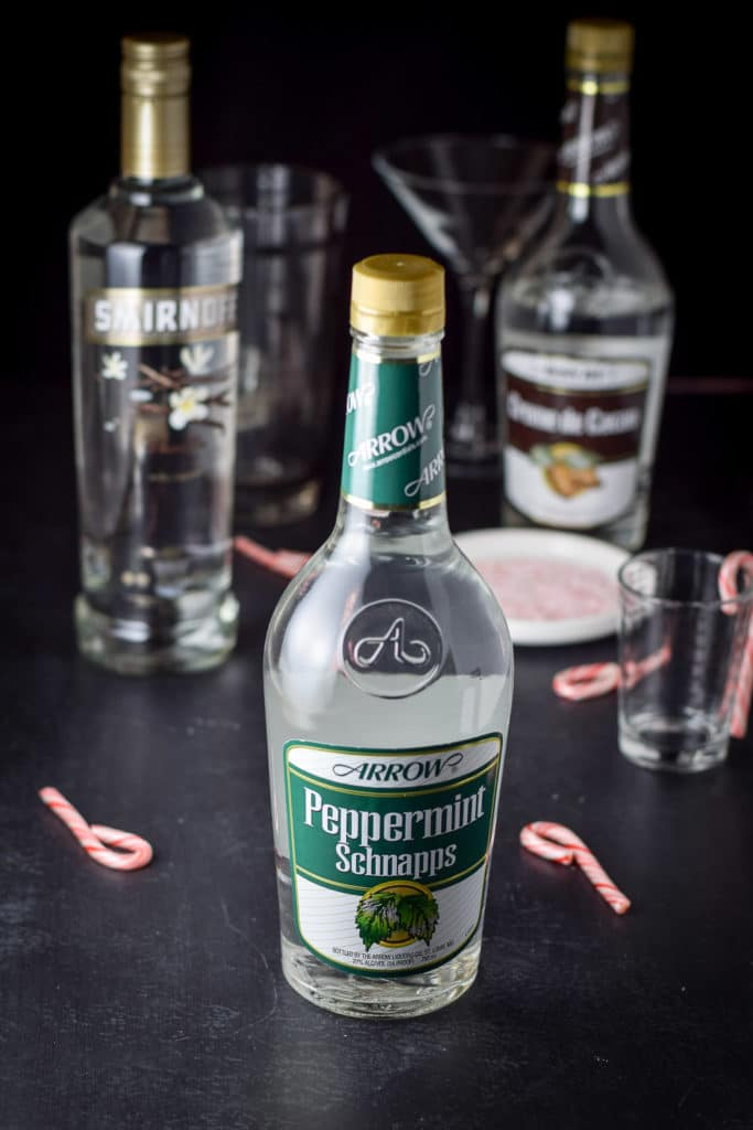 Pepperment schnapps, vanilla vodka, creme de cacao and crushed candy canes