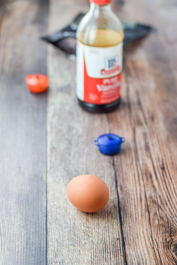Egg and vanilla on the table
