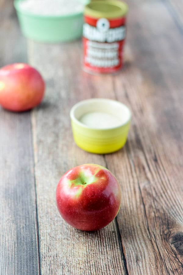 Apples, sugar, baking powder and flour for Bena's apple pancakes