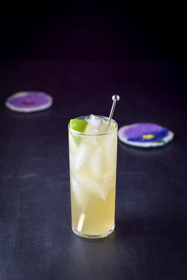 A collins glass filled with the cocktail with a stirrer and lime wedge in it