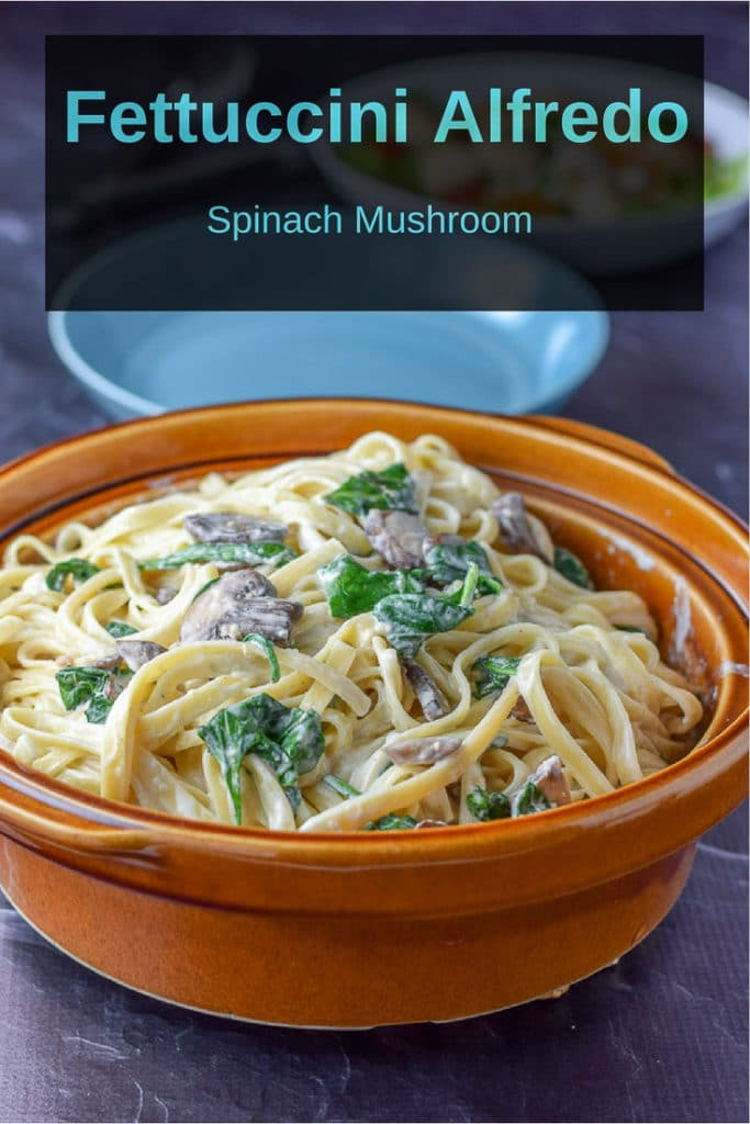 Spinach mushroom fettuccini alfredo is so delicious that you are going to be happy to eat it - Why? Because it's healthier than the normal Alfredo recipe!