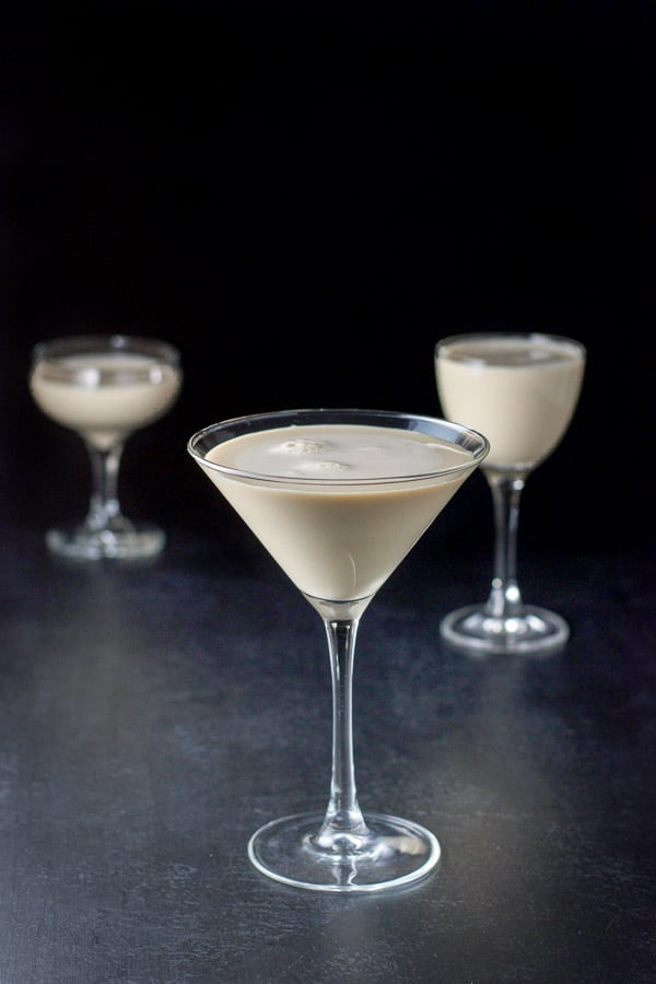 The creamy cocktail in three glasses. A classic glass, a coupe and a Nick and Nora glass