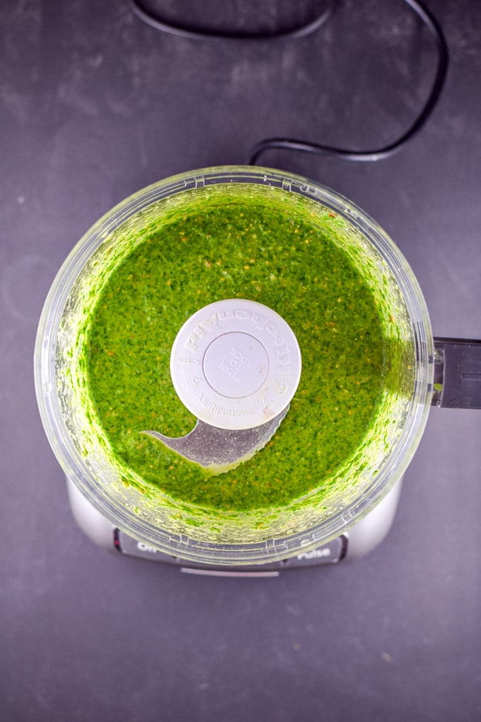 The cheer for chimichurri sauce processed and in the food processor.