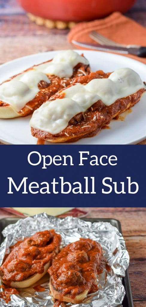 This meat ball sub is extra delicious because it's open faced and fun to eat with a knife and fork!