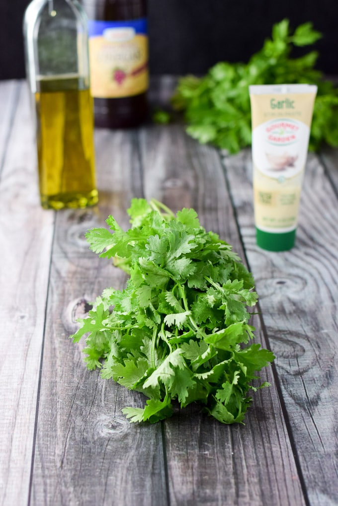 Cilantro, parsley, garlic paste, olive oil and balsamic vinegar